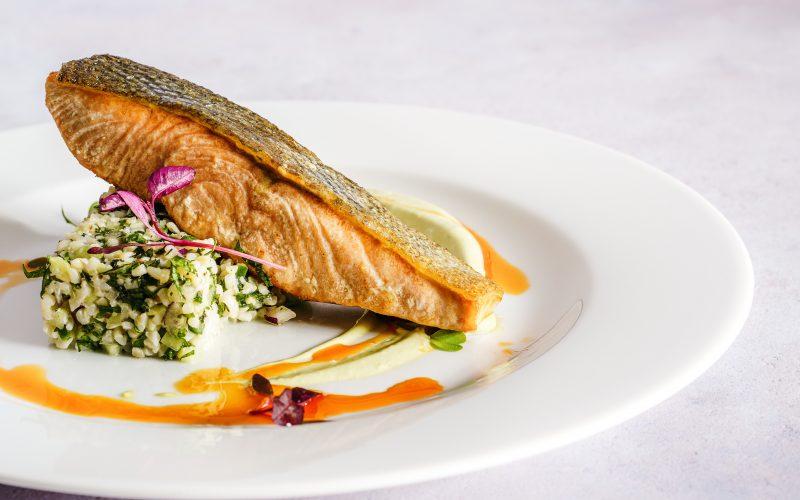 fine dining salmon steak